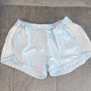 Light blue lace denim shorts